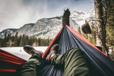 A hammock in the winter.