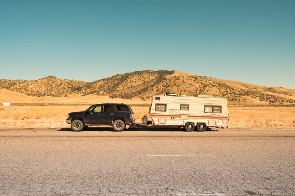 An RV camper.