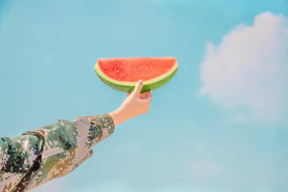A person holding a watermelon and the clear blue sky.