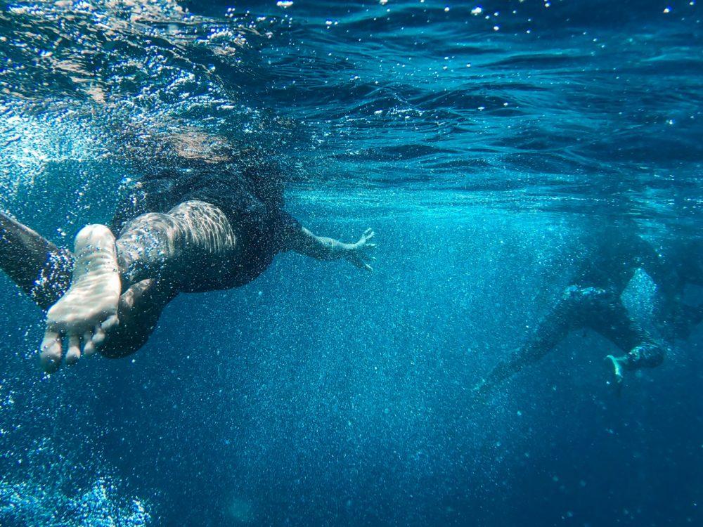 People swimming.