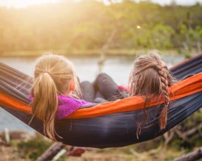 Two girls in a hammock.