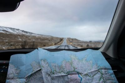 A map and a road.