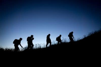 A group of people hiking.
