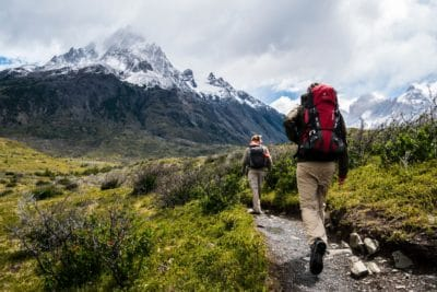 A man hiking.