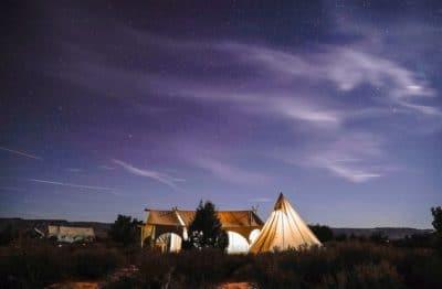 A tent outside.