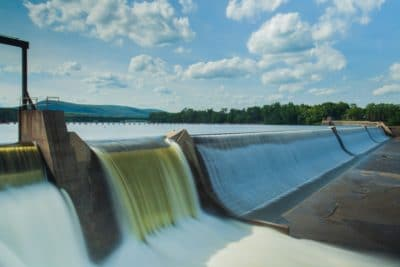 A dam with flowing water.