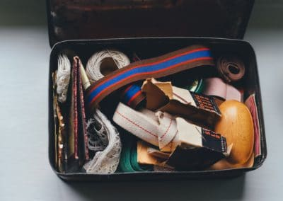 A box of sewing supplies.