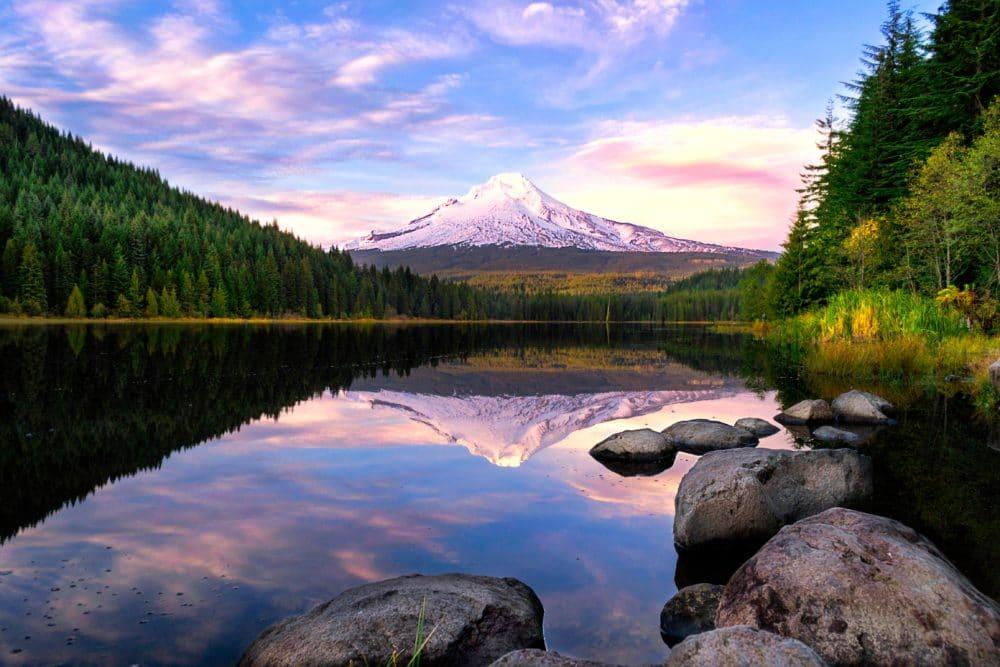 Trillium Lake's serenity welcomes Mt. Hood.