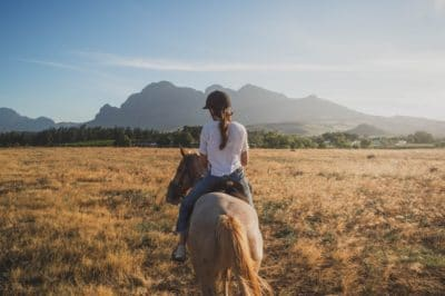 A girl on a horse in a field.