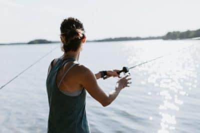 A woman fishing.