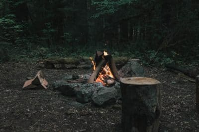 A picture of a fire in the woods.