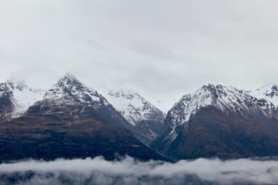 Snow-capped mountains.