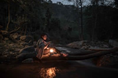A woman with a lantern in the woods.