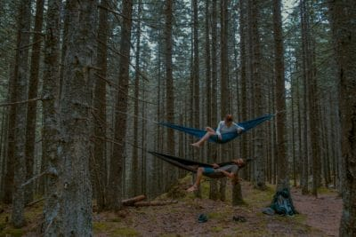 Two men in hammocks in the woods.