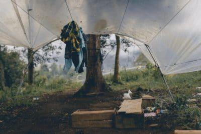 A makeshift tent.