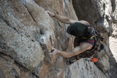 A man rock climbing in Ohio.
