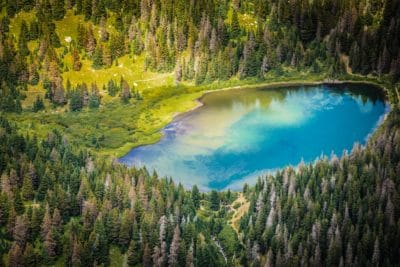 Aerial view of a blue lake surrounded by trees.