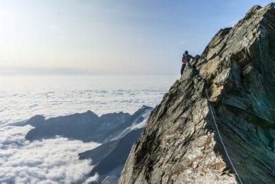 A man climbing in Switzerland.