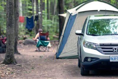 A Honda CRV at a campsite.