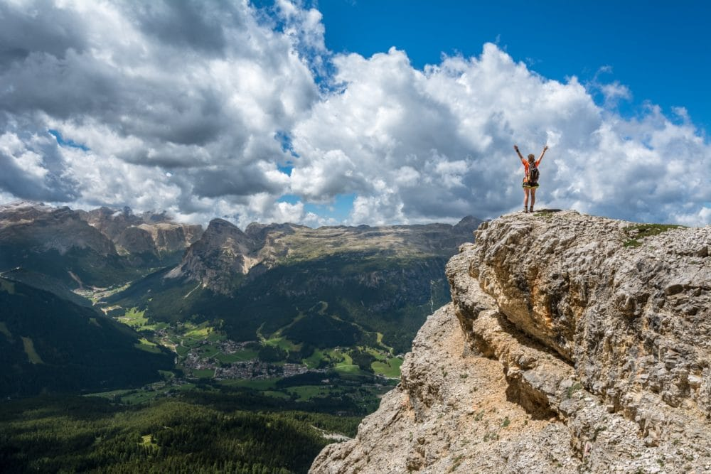 A girl on a mountain in Badia, Italy.