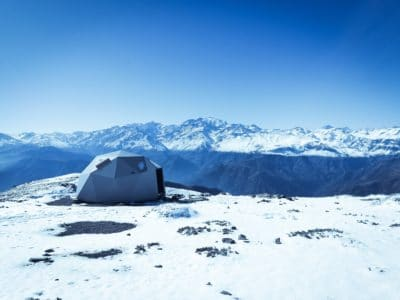 A tent in Sendero Cerro Provincia, Las Condes, Lo Barnechea, Región Metropolitana, Chile.