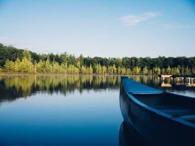 A canoe on a lake.