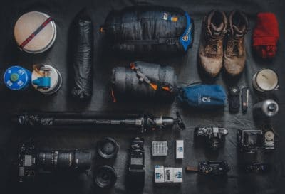 A collection of hiking gear.