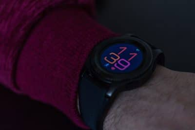 A black smartwatch.
