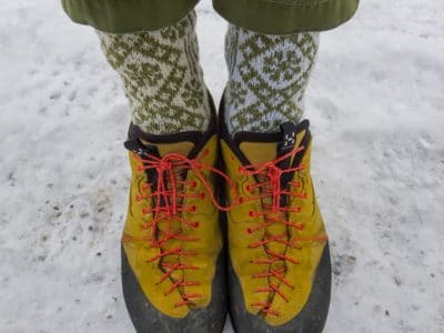 A pair of hiking boots and winter socks.