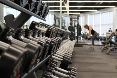 A woman working out in a gym.