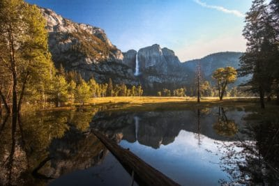 Body of water near a mountain in Yosemite.