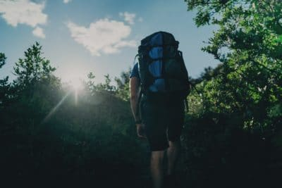 A man with a hiking backpack surrounded by green trees.