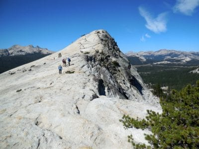 People on a mountain in Yosemite.