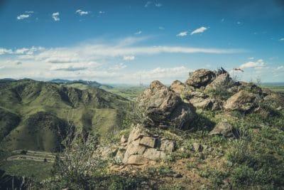 Rocky mountains and a blue sky.