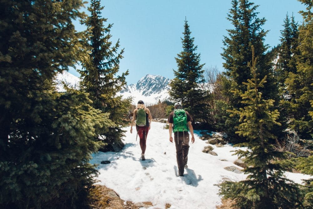 Two people hiking in a forest with snow.