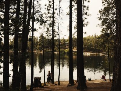 A woman standing by a pond in a forest.