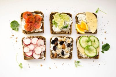 Bread with toppings.