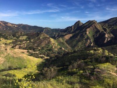 A green mountain range.