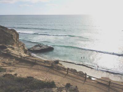 A beach along the ocean in California.