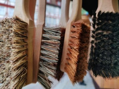 Brown wooden brushes.