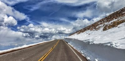 A road in the snowy mountains.