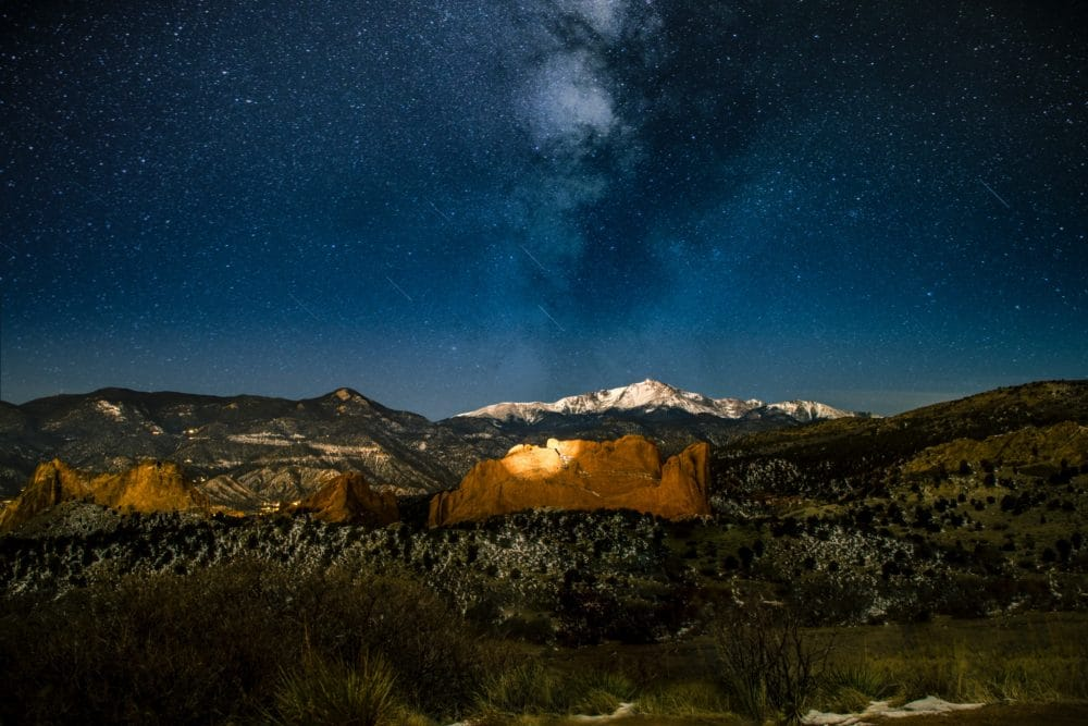 A mountain under the stars.