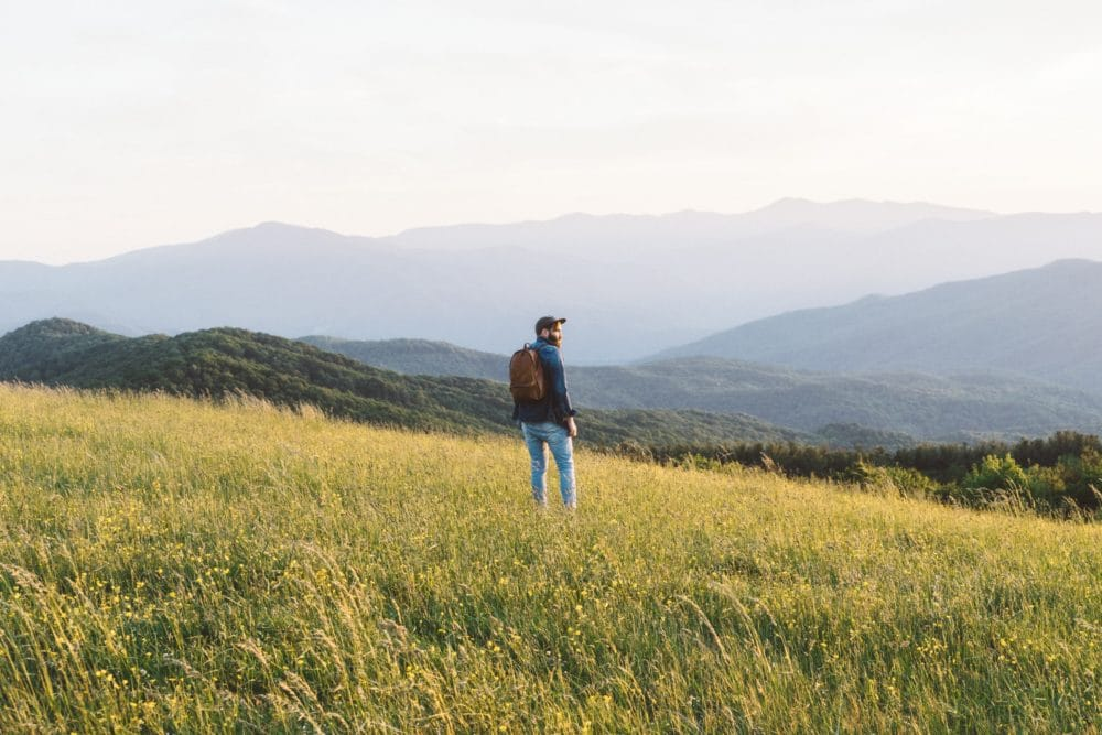 A man standing in a field in the mountains.