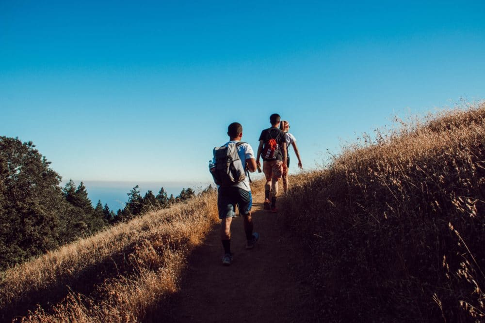 Three people on a hiking trail daytime.