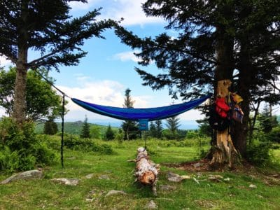 A blue hammock in between two trees daytime.