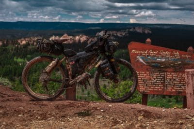 A mountain bike in the dirt.