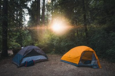 Two tents in the forest with sunshine.