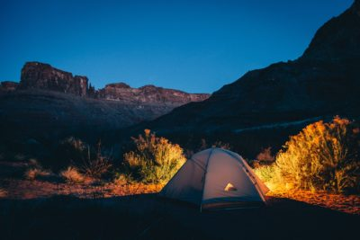 A campsite in the mountains.
