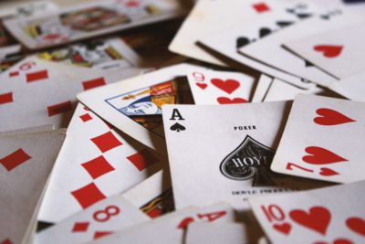 A stack of playing cards.