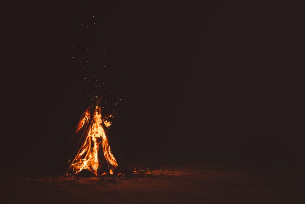 A fire in the night.